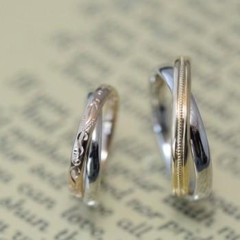 2連とコンビと和彫りの結婚指輪