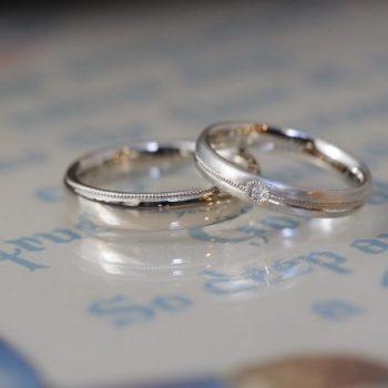 〔結婚指輪〕シャンパンゴールドとミルグレイン