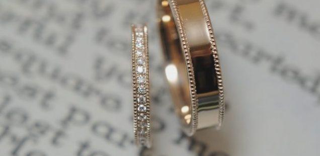 結婚指輪 ROSEgoldとミルとハーフエタニティ