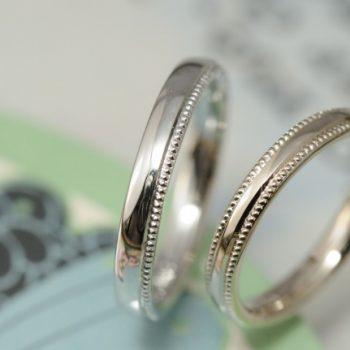 粒の大きいミルグレインのオーダーメイド結婚指輪