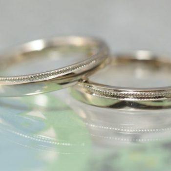 〔結婚指輪〕平打ちにミルグレイン