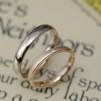 〔結婚指輪〕ローズゴールドとサンドブラストの美しさ