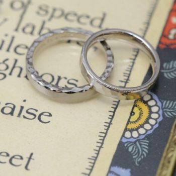 〔結婚指輪〕ギャップがかっこよい鎚目のリング