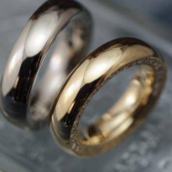 結婚指輪 ボリュームでダイヤで彫で。