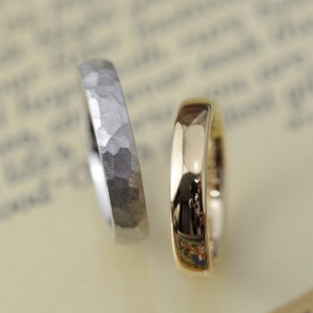 結婚指輪 鎚目と甲丸と