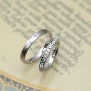 結婚指輪 誕生石を2つ