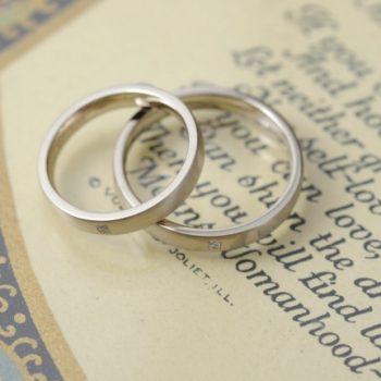 結婚指輪 シャンパンにブラシ