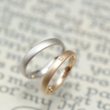 結婚指輪 ローズとプラチナとサンドブラスト