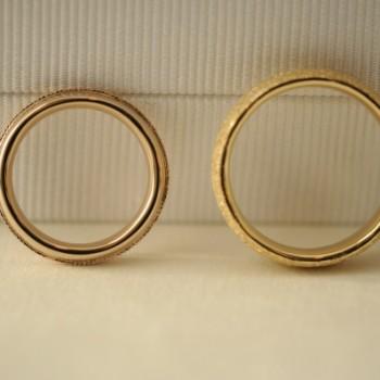 ピンクゴールドとミルグレインのオーダーメイド結婚指輪