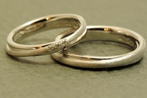 プラチナの二連風オーダーメイド結婚指輪