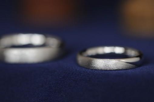 ダイヤモンドテクスチャのオーダーメイド結婚指輪