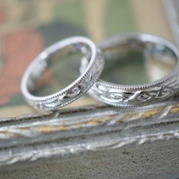 自然モチーフとケルト模様のオーダーメイド結婚指輪