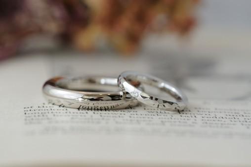 甲丸と鎚目ペアのオーダーメイド結婚指輪