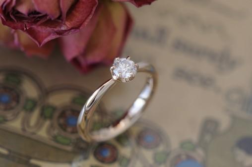 ソリテールピンクゴールドの婚約指輪