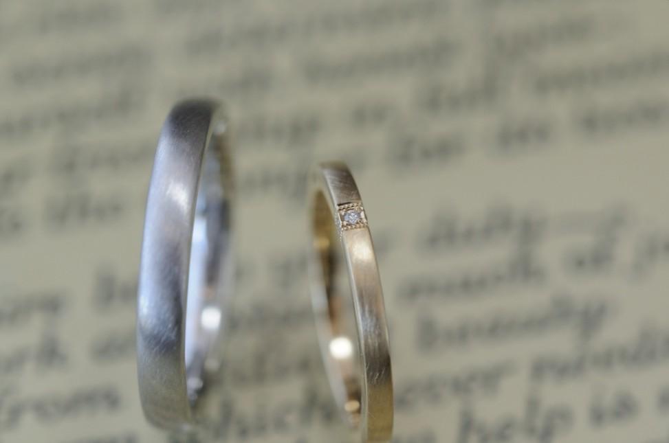 ダイヤとミルとプラチナの結婚指輪