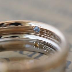 ピンクとプラチナの結婚指輪