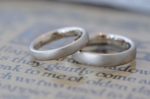 サンドブラストのボリュームタイプ結婚指輪
