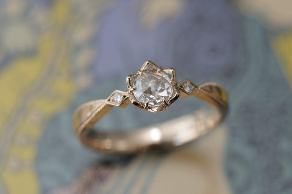 ローズカットダイヤモンドの結婚指輪
