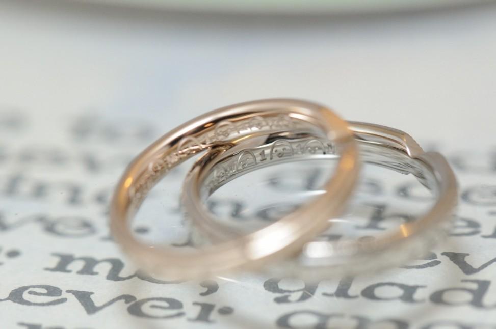 ミルグレインとピンクとプラチナの結婚指輪