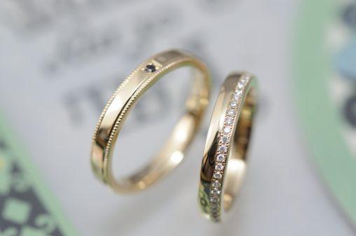 ゴールドとダイヤモンドの結婚指輪