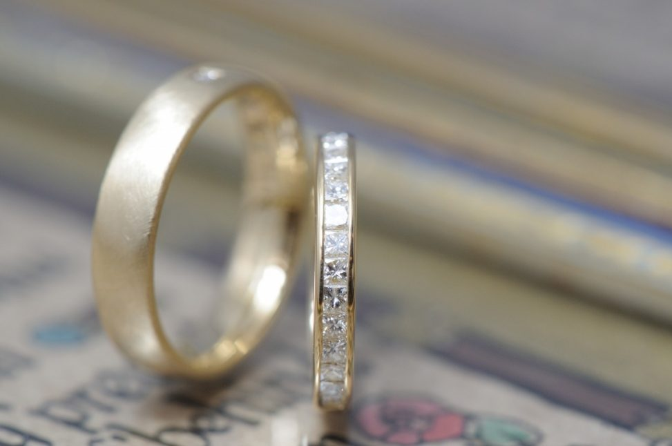 プリンセスカットとバゲットカットの結婚指輪