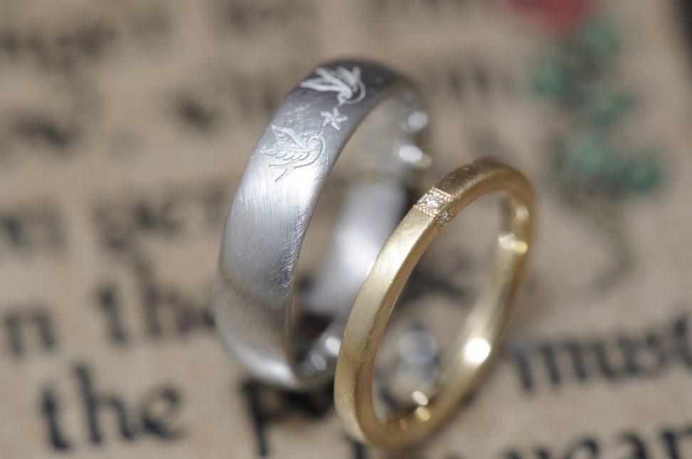 ツバメと星とダイヤモンドの結婚指輪