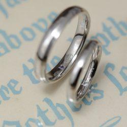 ホワイトゴールドのシンプルオーダーメイド結婚指輪