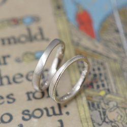 シャンパンとミルグレインのオリジナル結婚指輪