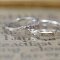 ミルと鎚目とダイヤのオリジナル結婚指輪