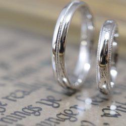 プラチナとミルグレインのオーダーメイド結婚指輪