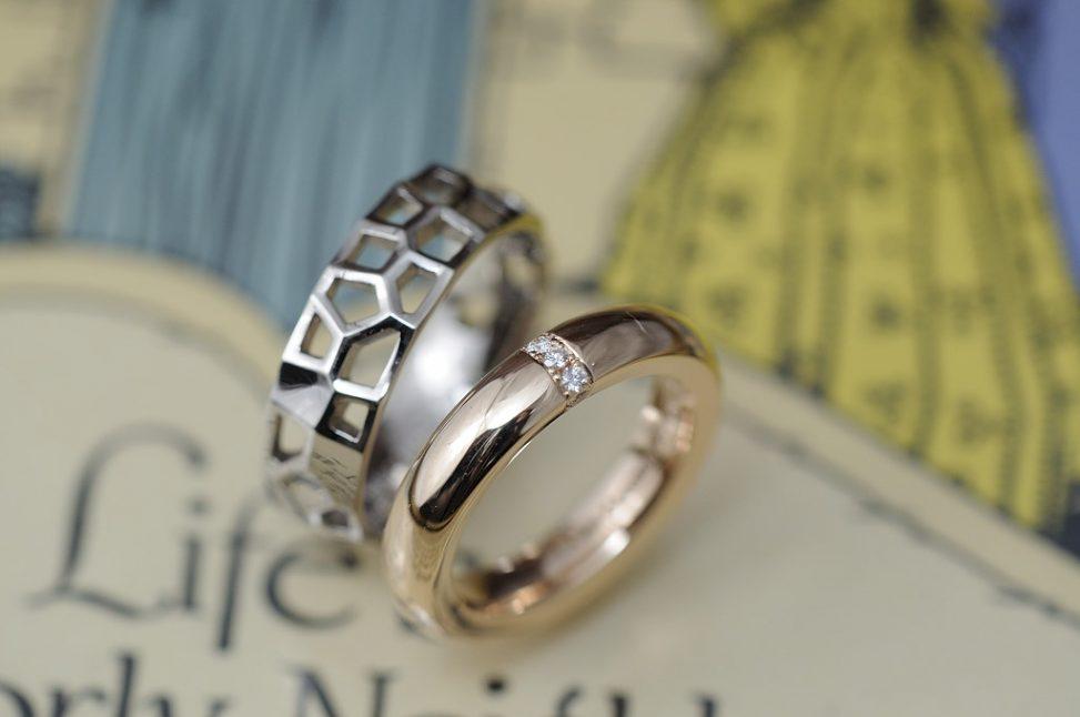 透かし模様とボリュームタイプのオーダーメイド結婚指輪