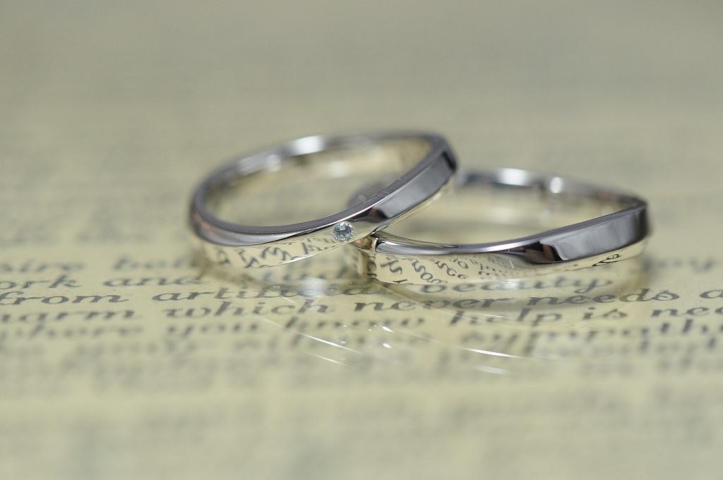 ウェーブと鏡面のオーダーメイド結婚指輪