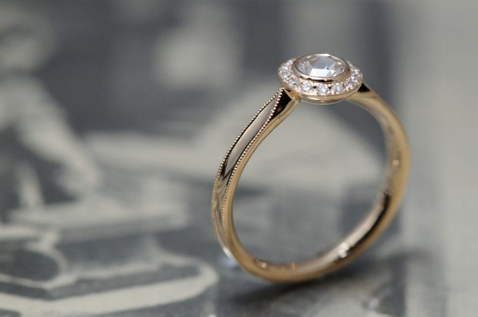 ローズゴールドのローズカット婚約指輪