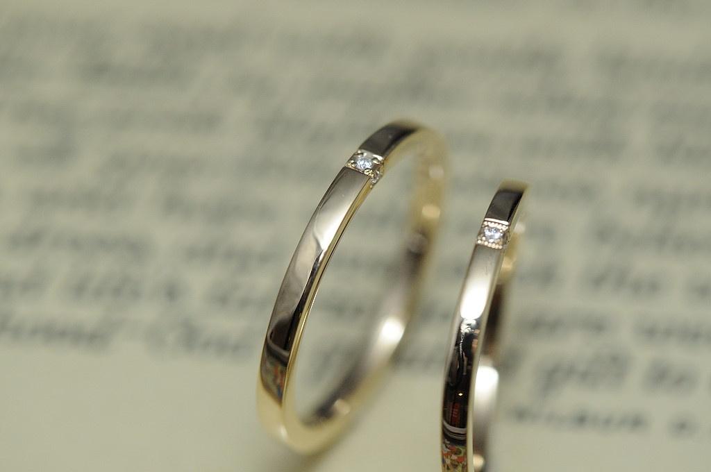ウェーブと三面ダイヤのオーダーメイド結婚指輪
