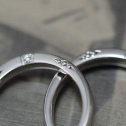 彫とダイヤとプラチナのオーダーメイド結婚指輪