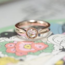 ピンクゴールド八角形のローズカット婚約指輪