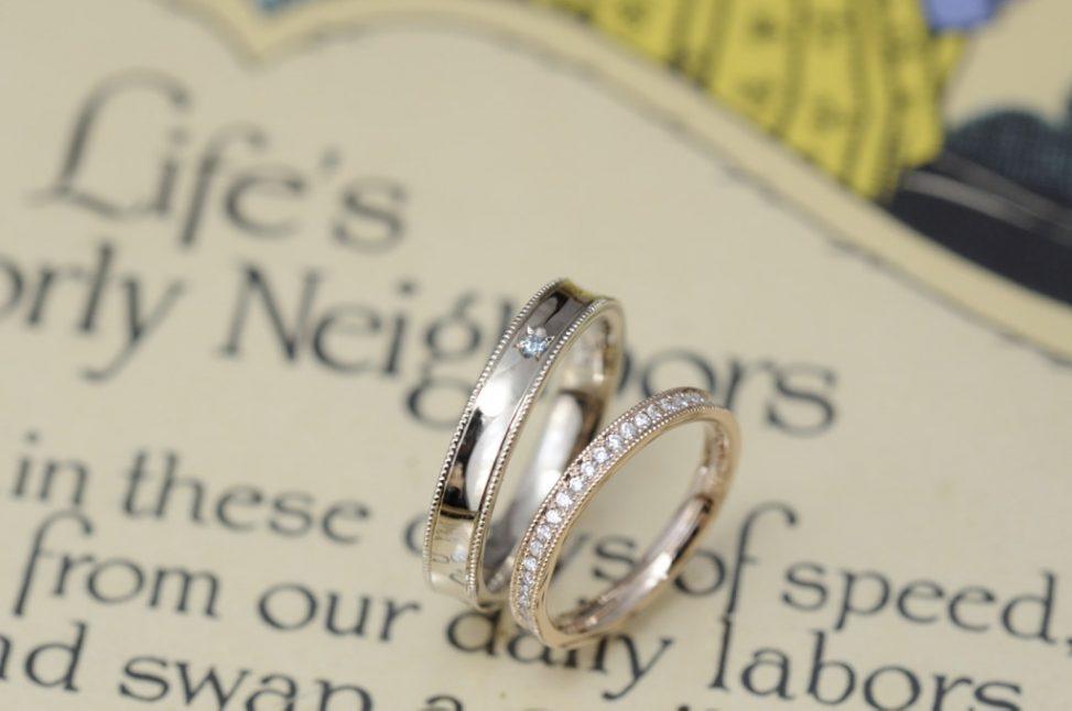 ローズゴールドのハーフエタニティーとシャンパンのオーダーメイド結婚指輪