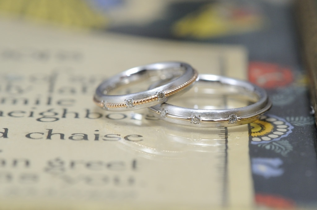 プラチナとピンクとシャンパンのコンビのオーダーメイド結婚指輪