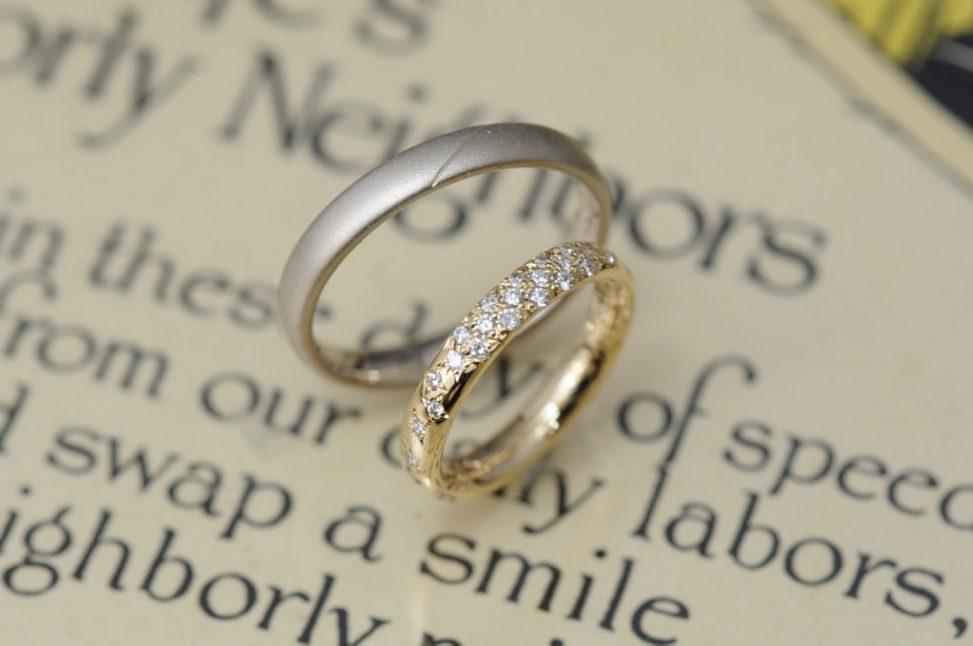 パヴェセッティングのオーダーメイド結婚指輪