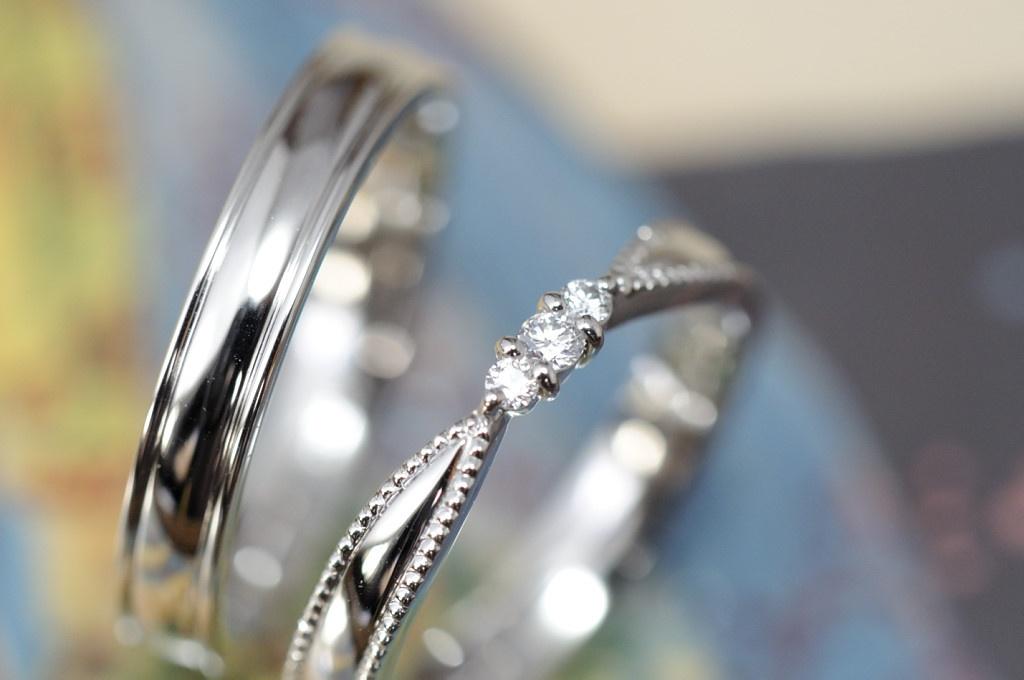 プラチナミルとダイヤモンドのオーダーメイド結婚指輪