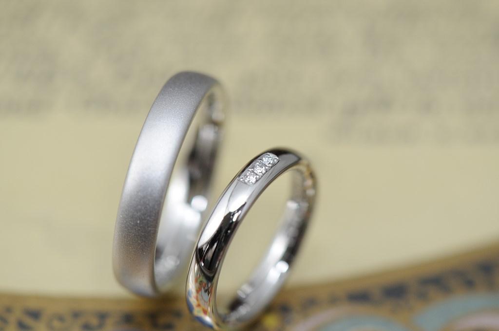 シンプルボリュームのオーダーメイド結婚指輪