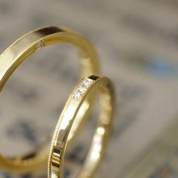 平打ち純金のオーダーメイド結婚指輪