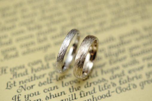 枝テクスチャのオーダーメイド結婚指輪